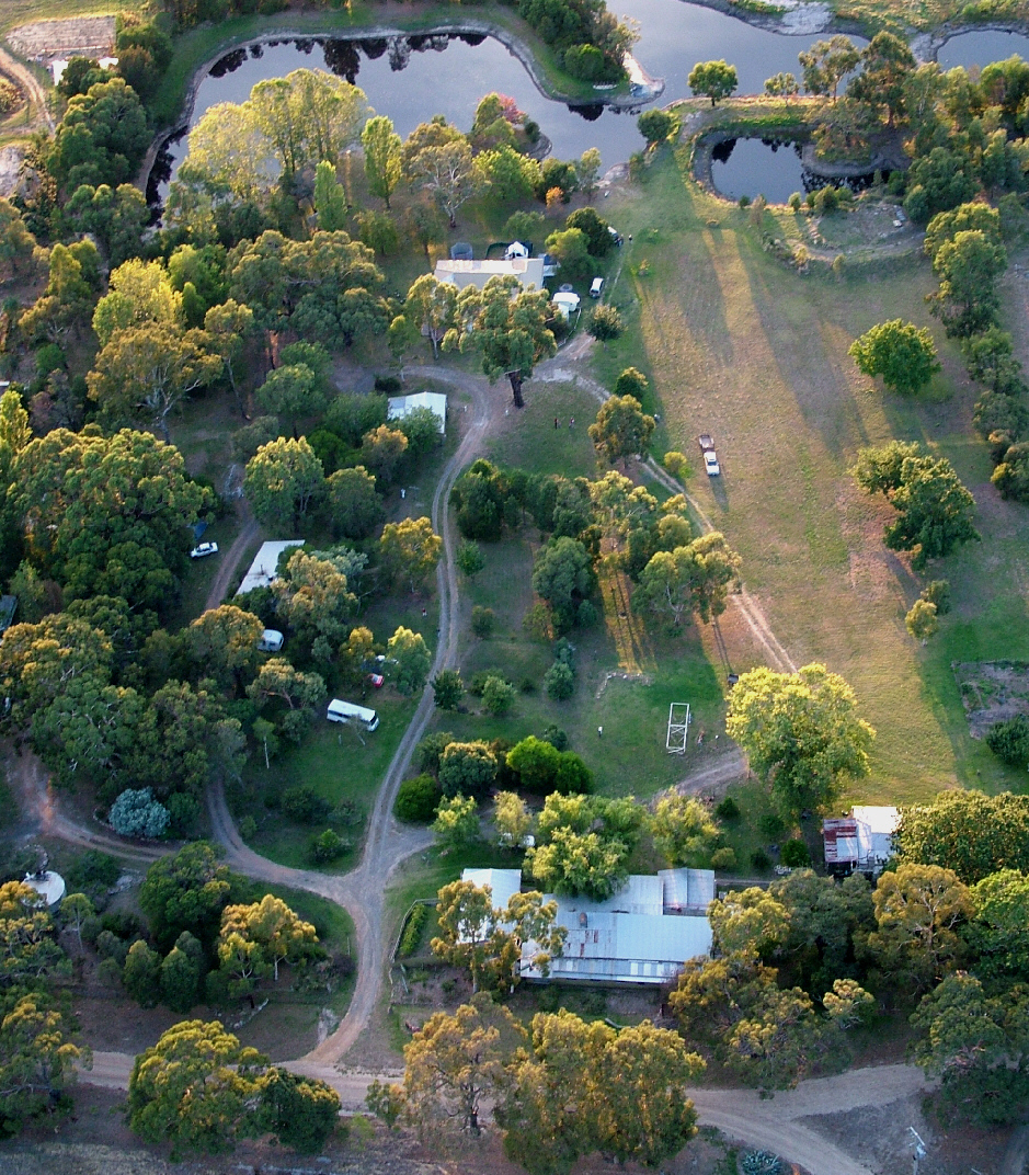 Aerial photo taken from a Hot Air Balloon of Grampians Paradise Camping and Caravan Parkland