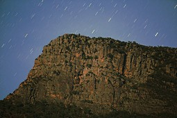 Redman Bluff, 3rd highest Mountain of the Grampians National Park, by moon light, under the stary sky taken from Redman Bluff Camping Ground