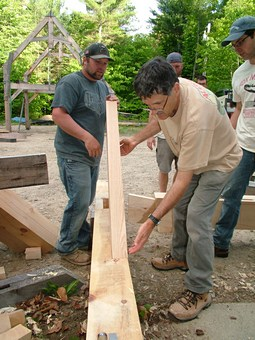 Students assembling the Traditional Timber Frame on the Spring 2017 Fox Maple Tradtional Timber Building Workshop