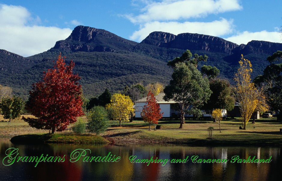 Reman Bluff, one of the Grampians National Park's highest mountains refected in Blue Lake at Grampians Paradise Camping and Caravan Parkland