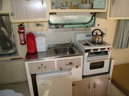 Kitchen in Kookaburra, our 1960's vintage onsite caravan at Grampians Paradise Camping and Caravan Parkland