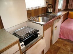 Kitchen in Kangaroo, our 1980's retro onsite caravan at Grampians Paradise Camping and Caravan Parkland