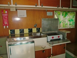 Kitchen in Koala, our 1950's vintage onsite caravan at Grampians Paradise Camping and Caravan Parkland