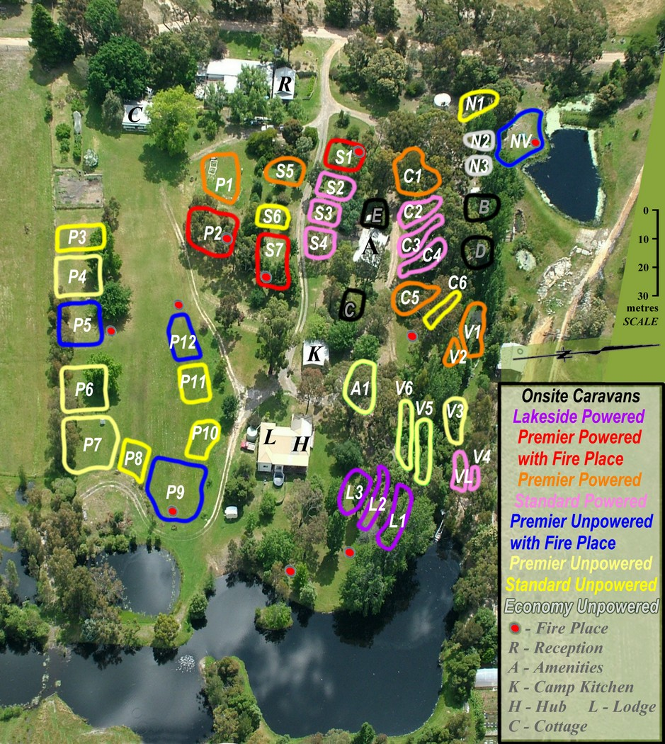 Site Map showing powered and unpowered sites for caravans, motor homes, camper trailors and tents at Grampians Paradise Camping and Caravan Parkland