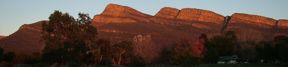The view of Redman Bluff in the morning sunrise light from Grampians Paradise Camping and Caravan Parkland