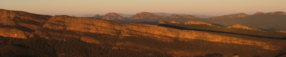Redman Bluff and Long Gully Cliffs in the Grampians National Park above Grampians Paradise Camping and Caravan Parkland